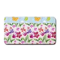 Watercolor flowers and butterflies pattern Medium Bar Mats