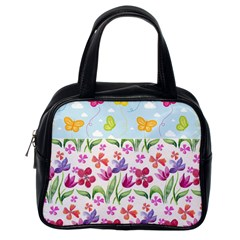 Watercolor flowers and butterflies pattern Classic Handbags (One Side)
