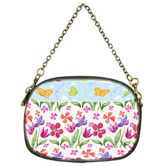 Watercolor flowers and butterflies pattern Chain Purses (One Side)