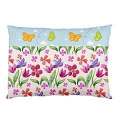 Watercolor flowers and butterflies pattern Pillow Case