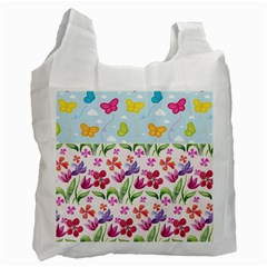Watercolor flowers and butterflies pattern Recycle Bag (Two Side)