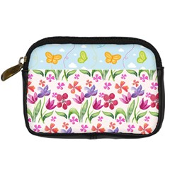 Watercolor flowers and butterflies pattern Digital Camera Cases