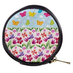 Watercolor flowers and butterflies pattern Mini Makeup Bags