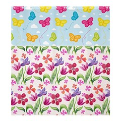 Watercolor flowers and butterflies pattern Shower Curtain 66  x 72  (Large)