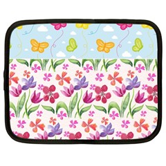 Watercolor flowers and butterflies pattern Netbook Case (XL)