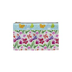 Watercolor flowers and butterflies pattern Cosmetic Bag (Small)