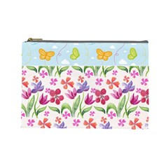 Watercolor flowers and butterflies pattern Cosmetic Bag (Large)