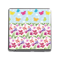 Watercolor flowers and butterflies pattern Memory Card Reader (Square)