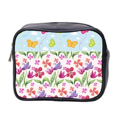 Watercolor flowers and butterflies pattern Mini Toiletries Bag 2-Side