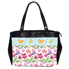 Watercolor flowers and butterflies pattern Office Handbags (2 Sides)