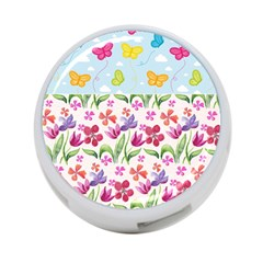 Watercolor flowers and butterflies pattern 4-Port USB Hub (Two Sides)
