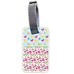 Watercolor flowers and butterflies pattern Luggage Tags (One Side)