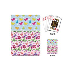 Watercolor flowers and butterflies pattern Playing Cards (Mini)