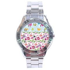 Watercolor flowers and butterflies pattern Stainless Steel Analogue Watch