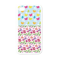 Watercolor flowers and butterflies pattern Apple iPhone 4 Case (White)