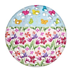 Watercolor flowers and butterflies pattern Round Filigree Ornament (Two Sides)