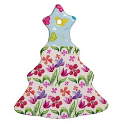 Watercolor flowers and butterflies pattern Christmas Tree Ornament (Two Sides)