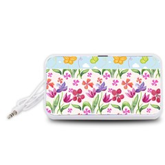 Watercolor flowers and butterflies pattern Portable Speaker (White)