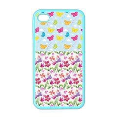 Watercolor flowers and butterflies pattern Apple iPhone 4 Case (Color)