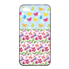 Watercolor flowers and butterflies pattern Apple iPhone 4/4s Seamless Case (Black)