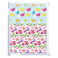 Watercolor flowers and butterflies pattern Apple iPad 2 Case (White)