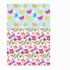 Watercolor flowers and butterflies pattern Large Garden Flag (Two Sides)
