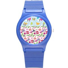 Watercolor flowers and butterflies pattern Round Plastic Sport Watch (S)