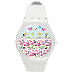 Watercolor flowers and butterflies pattern Round Plastic Sport Watch (M)
