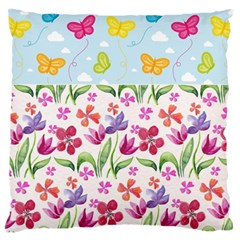 Watercolor flowers and butterflies pattern Large Cushion Case (One Side)