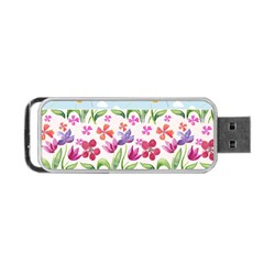 Watercolor flowers and butterflies pattern Portable USB Flash (One Side)