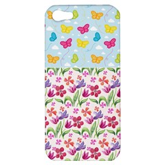 Watercolor flowers and butterflies pattern Apple iPhone 5 Hardshell Case