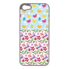 Watercolor flowers and butterflies pattern Apple iPhone 5 Case (Silver)
