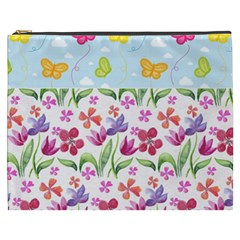 Watercolor flowers and butterflies pattern Cosmetic Bag (XXXL)