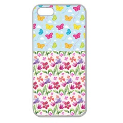 Watercolor flowers and butterflies pattern Apple Seamless iPhone 5 Case (Clear)