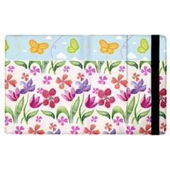 Watercolor flowers and butterflies pattern Apple iPad 2 Flip Case