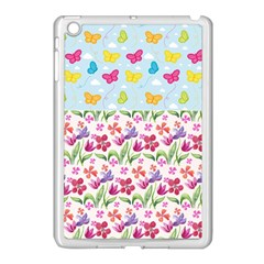 Watercolor flowers and butterflies pattern Apple iPad Mini Case (White)