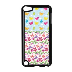Watercolor flowers and butterflies pattern Apple iPod Touch 5 Case (Black)