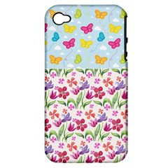 Watercolor flowers and butterflies pattern Apple iPhone 4/4S Hardshell Case (PC+Silicone)