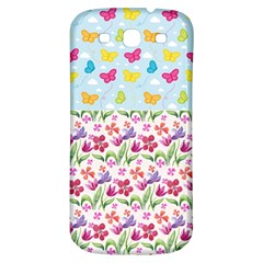 Watercolor flowers and butterflies pattern Samsung Galaxy S3 S III Classic Hardshell Back Case