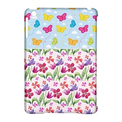 Watercolor flowers and butterflies pattern Apple iPad Mini Hardshell Case (Compatible with Smart Cover)