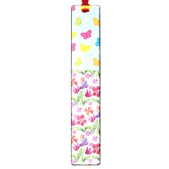 Watercolor flowers and butterflies pattern Large Book Marks