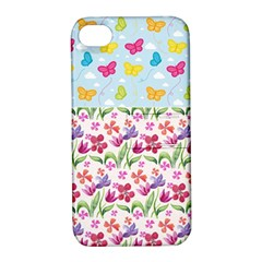 Watercolor flowers and butterflies pattern Apple iPhone 4/4S Hardshell Case with Stand
