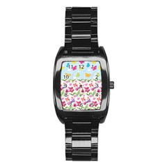 Watercolor flowers and butterflies pattern Stainless Steel Barrel Watch