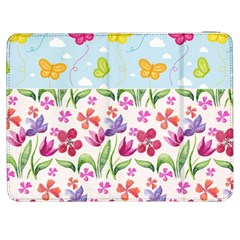 Watercolor flowers and butterflies pattern Samsung Galaxy Tab 7  P1000 Flip Case