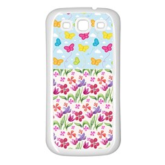 Watercolor flowers and butterflies pattern Samsung Galaxy S3 Back Case (White)