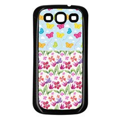 Watercolor flowers and butterflies pattern Samsung Galaxy S3 Back Case (Black)