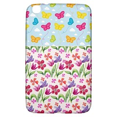 Watercolor flowers and butterflies pattern Samsung Galaxy Tab 3 (8 ) T3100 Hardshell Case