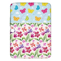 Watercolor flowers and butterflies pattern Samsung Galaxy Tab 3 (10.1 ) P5200 Hardshell Case