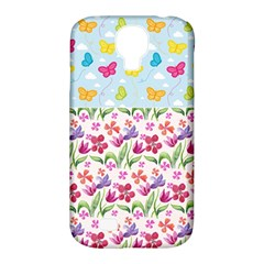 Watercolor flowers and butterflies pattern Samsung Galaxy S4 Classic Hardshell Case (PC+Silicone)