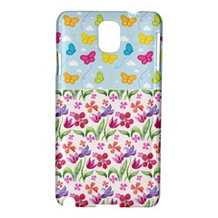 Watercolor flowers and butterflies pattern Samsung Galaxy Note 3 N9005 Hardshell Case